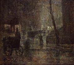 Wet Night, Gramercy Park, Oil by Ernest Lawson (1873-1939, Canada)