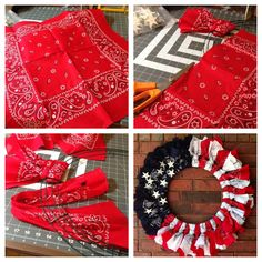 Bandana red white and blue flag wreath for 4th of July   6 bandanas of each color, wire  wreath metal stars  Cut bandanas in half and a loop around the wreath Patriotic Wreath, 4th July Wreath, July 4th, Flag Wreath, Patriotic Crafts, July Crafts, Summer Wreath, 4th Of July Party, Patriotic Room