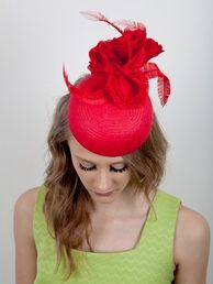 Jessika Hill Couture Millinery #hats designed and handcrafted in England. Hand blocked in straw,silk rose and curled feathers. #red #hat #royalascot #millinery #milliner visit www.jessikahill.com