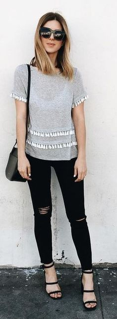 Grey Tassel Tee + Black Denim                                                                             Source