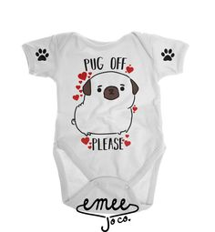 Is there a polite way to say Pug off? Probably not, but at least you can now say it with a cute pug themed t-shirt or bodysuit! Our Pug Off design features a hand sketched Pug, red watercolor hearts, and little paw prints on each sleeve. One of our most unique designs and made exclusively for dog lovers. Available in infant to adult meaning matching shirts for mommas and their little ones!  ORDERING In the note section at checkout, please let us know... 1. What color youd like for the…