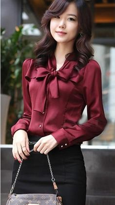 Korea Women Long Sleeve Bowknot Vintage Shirts Bowtie OL Tops Blouse