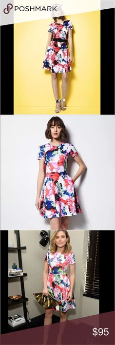NWT Milly for Designation Foral Watercolor Dress-6 Brand New!  Loved by celeb's like Sophia Bush, Kate Bosworth & Olivia Palermo, This watercolor floral fit-n-flare dress is made in a form holding scuba fabric perfect for any occasion.  Short Sleeve Side Pockets Exposed back zipper Slight Stretch Polyester/Spandex Milly Dresses