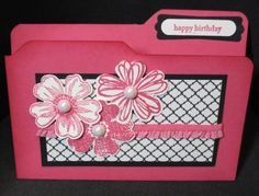 "File Folder Tab Flower Shop Card inspired by Debbie Henderson and ""StampwithSusie"" BlogSpot on Pinterest. Rectangle piece is: Modern Medley: 2-1/4 x 4; Basic Black: 2-1/2 x 4-1/4. All pinks are: Strawberry Slush."
