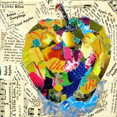 Nancy Standlee Fine Art: Mixed Media Torn Paper Collage Painting, Apple 12093 and Workshop July One Day Collage by Nancy Standlee Texas Artist Collage Kunst, Art Du Collage, Mixed Media Collage, Painting Collage, Collage Artists, Food Collage, Music Collage, Collage Portrait, Collage Ideas