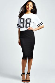 Nancy Eyelash Lace Ponte Midi Skirt at boohoo.com