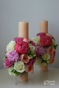 Baptism Ideas, Pillar Candles, Wedding Flowers, Candles, Bridal Flowers