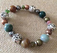 Beaded Bracelet Silver Bracelet Stretch by RedWillowCreations, $12.00