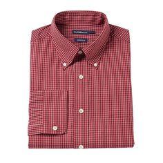 Men's Croft & Barrow® Slim-Fit Button-Down Collar Dress Shirt - Men, Size: 18 36/37, Red