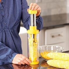 Eat corn on the cob without the mess with a corn kernel shucker!