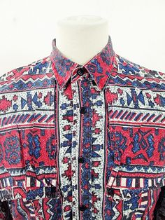 Vintage Geometric Indie Cowboy Western Shirt XL