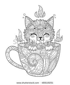Kitten in cup. Adult antistress coloring page with cat in zentangle style. Doodle animal. Vector illustration for T-shirt print, tattoo, logo.