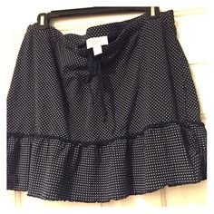 Navy and white polka dot casual skirt Navy with white polka dots, tie at waist. Great casual skirt or cover up. Size large (runs a little small). LOFT Skirts
