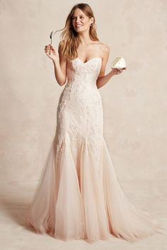 Monique Lhuillier BLUSH EMBELLISHED CHANTILLY LACE STRAPLESS SWEETHEART MODIFIED TRUMPET GOWN WITH TULLE GODET SKIRT