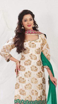 Off White Nylon Jamawar Churidar Suit