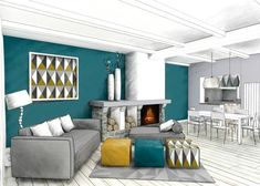 The 3 tips of Emmanuelle Rivassoux to sparkle her decor Decor, Furniture, Room, Blue Living Room, Home Staging, Cabin Decor, New Homes, Home Decor, Dining Room Decor