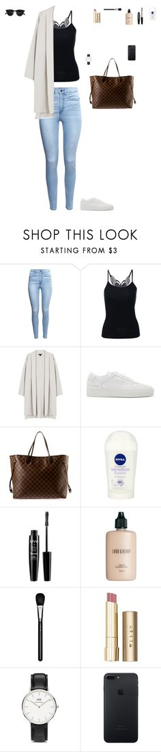"""Senza titolo #279"" by alicemasiero ❤ liked on Polyvore featuring H&M, Eileen Fisher, Common Projects, Louis Vuitton, Nivea, NYX, Lord & Berry, MAC Cosmetics, Stila and Daniel Wellington"