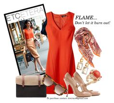 Etcetera Fall 2015: Flame Dress by timirac on Polyvore featuring polyvore, fashion, style, Manolo Blahnik, Seventy Eight Percent, Ippolita, BeckSöndergaard, Tom Ford and Etcetera
