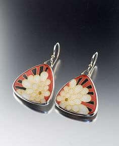 Art Deco Petal Earrings by Jan Van Diver: Enameled Earrings available at www.artfulhome.com