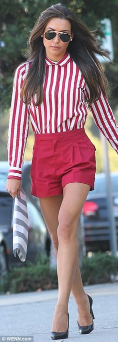 Seeing red: The 26-year-old slipped on a pair of provocative shorts as she stalked the sunny California streets