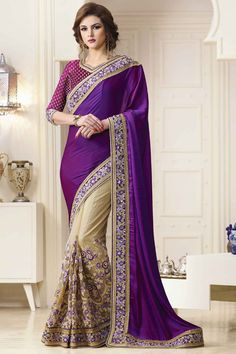Black Grey Half And Half Viscose Party Wear Designer Sari Black Net Saree, Purple Saree, Grey Saree, South Indian Wedding Saree, Saree Wedding, Bridal Sarees, Wedding Wear, Wedding Dresses, Party Dresses