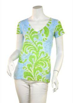 Lolo Lime (7321) Sheer Short Sleeve V-neck T-shirt