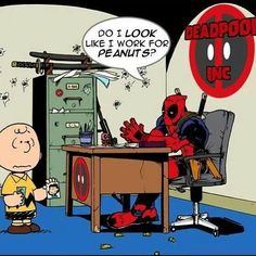 Deadpool vs Charlie Brown by Ben Steeves Comic Book Characters, Marvel Characters, Comic Books Art, Comic Art, Snoopy Love, Charlie Brown And Snoopy, Deadpool Funny, Deadpool Stuff, New Mutants 98