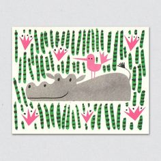 Happy Hippo greeting card by Lisa Jones Studio. Find a great range of cards and prints in our shop and online at http://ift.tt/mZusDN #somagallery #lisajonesstudio #hippo #greetingcard #happyhippo #illustrated