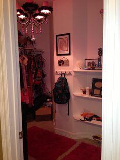 Teen room: Chandelier in Hailley's closet