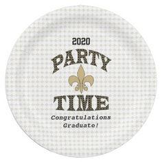 Black Gold Fleur de Lis Party Time 9 Inch Paper Plate