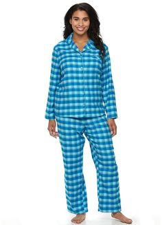 Plus Size Croft & Barrow® Pajamas: Flannel Notch Collar PJ Set - You'll be dozing off in no time in these cozy women's pajamas from Croft & Barrow. PRODUCT FEATURES      2-piece set includes: top & pants