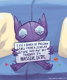 Sableye is in my top 3 favorites Pokemon Comics, Pokemon Memes, Pokemon Shaming, Play Pokemon, Pokemon Funny, Stupid Pokemon, Pokemon Chart, Sableye Pokemon, Anime Characters