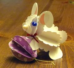 Alex's Creative Corner - 3D punch art Easter ornament - Egg and bunny preview