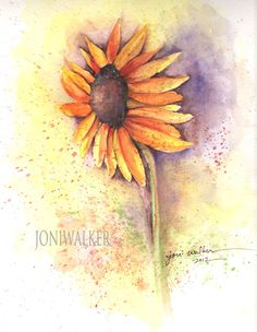 Red Sunflower original watercolor painting