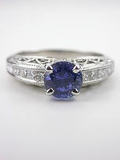 Antique Style Sapphire Filigree Engagement Ring