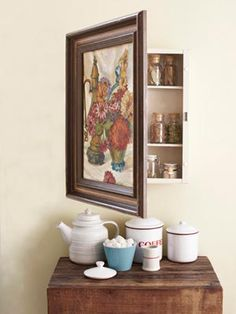Turn vintage painting into cabinet