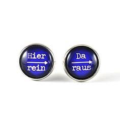 """witzige Ohrstecker """"Hier rein - da raus"""" von SCHMUCKZUCKER Ohrringe silber mit Spruch dunkelblau weiß SCHMUCKZUCKER http://www.amazon.de/dp/B00N1WMSRC/ref=cm_sw_r_pi_dp_9tm.tb0A1T3B6"""