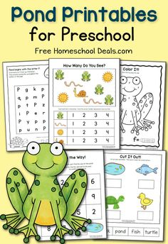 FREE Pond Printables for Preschool | Your Preschooler or Early Kindergartner will love these pages filled with frogs, turtles, ducks, and of course, the pond!