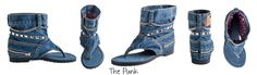 #danikfashion The Punk style jean boot. Click here for more styles: www.danikfashion.com  The Punk Jeans Sandal with usable pockets and deked with out with a zipper, chain and silver studs. On the inside there is a funky pink & black leopard lining.