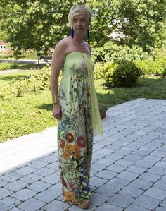 Long summer dress floral print Denny Rose