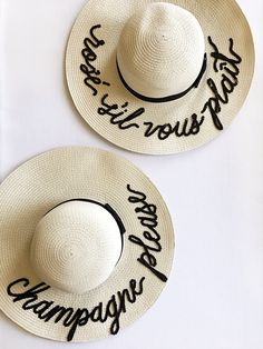 Custom Lettering Straw Sun Beach Hat - Champagne Please I miss my dog Summer Diy, Summer Hats, I Miss My Cat, Beach Bachelorette, Diy Hat, Beach Trip, Sun Hats, Lettering, Collections