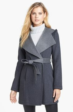Hooded Double Face Wrap Coat