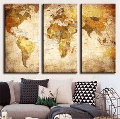 3 Pieces Multi Panel Modern Home Decor Framed Retro World Map Wall Canvas Art
