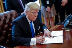 WASHINGTON, DC - JANUARY 24: US President Donald Trump signs one of five executive orders related to the oil pipeline industry in the Oval Office of the White House January 24, 2017 in Washington, DC. President Trump has a full day of meetings including one with Senate Majority Leader Mitch McConnell and another with the full Senate leadership. (Photo by Shawn Thew-Pool/Getty Images)