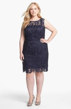 Adrianna papell plus size red lace dress