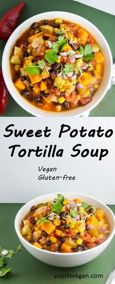 Sweet Potato Tortilla Soup   yupitsvegan.com. Savory, spicy tortilla soup with the hearty and warming addition of sweet potatoes! Vegan, gluten-free, recipe.