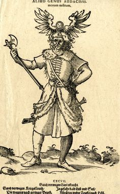 Plate 197: A mercenary soldier; whole-length figure in frontal view; with his left arm akimbo and holding an axe in his right hand; wearing a large headdress with two wings