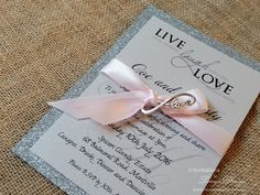 Practical wedding invitations suite with infinite love charm. Mounted on glitter or embossed paper and with rsvp and info cards in a bundle. Economical and elegant. Making Wedding Invitations, Engagement Invitations, Online Invitations, Wedding Invitation Design, Wedding Favors, Pocketfold Invitations, Invites, Event Branding, Save The Date Cards