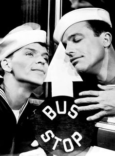 Frank Sinatra and Gene Kelly in Anchors Aweigh. This movie needed a LOT more of Sinatra singing. Hollywood Men, Hooray For Hollywood, Golden Age Of Hollywood, Vintage Hollywood, Hollywood Stars, Classic Hollywood, Hollywood Actresses, Gene Kelly, I Movie