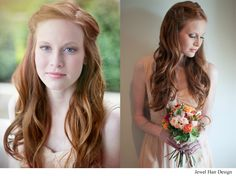 Romantic bridal hair all down wavy redhead hairstyle by Jewel Hair Design - A Hair Comes the Bride affiliate stylist. Redhead Hairstyles, Romantic Hairstyles, Bride Hairstyles, Down Hairstyles, Half Up Wedding Hair, Retro Wedding Hair, Wedding Hair And Makeup, Hair Makeup, Bride Hair Down